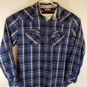 Pearl Snap Button Front Long Sleeve Western Shirt